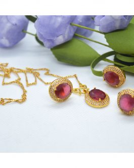 Golden Plated- Red Faux Ruby A...