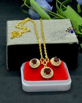 Gold Plated Round Faux Ruby An...