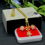 Gold Plated Flower Designed Ea...
