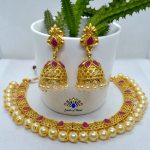 High Gold Faux Moti & Stones Beaded Necklace And Earrings Set With Adjustable Necklace Strap