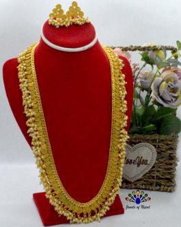 High Gold Faux Moti Beaded Lon...