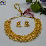 Golden/White Faux Moti Beaded Necklace And Earrings Set With Adjustable Necklace Strap