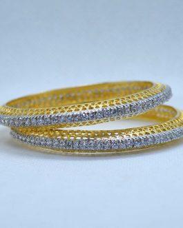 American Diamond Studded Bangles For Women- 2 Pcs