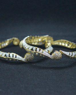 Diamond Imitation White Gold Plated Bangles For Women- 2 Pcs