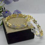 Gold/White American Diamond Studded Bangles For Women- 2 Pcs