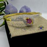 Gold/White American Diamond Studded Bracelet For Women