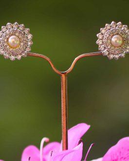 A.D. (American Diamond) Faux Pearl Enclosed Ear Studs