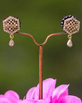 A.D. (American Diamond) Studded Golden Textured Stud Earrings