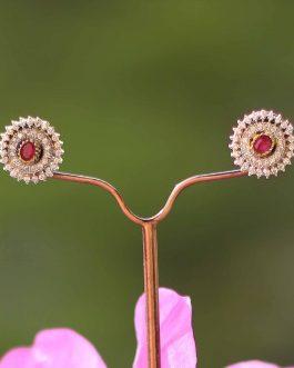 Faux Ruby Stone Encircled A.D. (American Diamond) Ear Studs