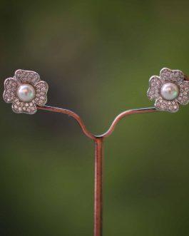 Faux Pearl Embellished A.D. (American Diamond) Ear Studs