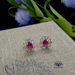 American Diamond Stone Embellished Oval Ear Studs For Women