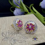 American Diamond / Faux Ruby Stone Embellished Floral Designed Ear Studs For Women