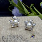 American Diamond Stone Faux Pearl Embellished Floral Designed Ear Studs For Women