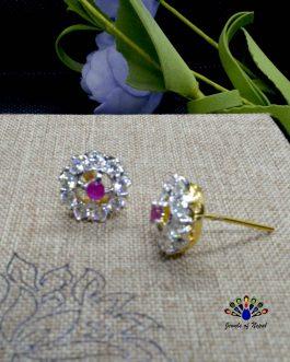 American Diamond Stone Embellished Thaka Style Ear Studs For Women
