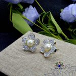 American Diamond Stone Faux Pearl Floral Designed Ear Studs For Women