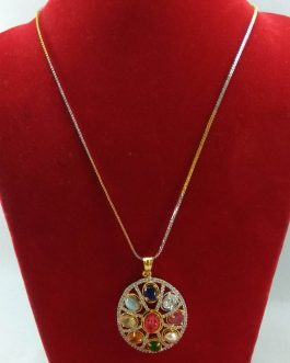 Faux Navratna & American Diamond Stones Studded Pendant And Chain For Women- Silver