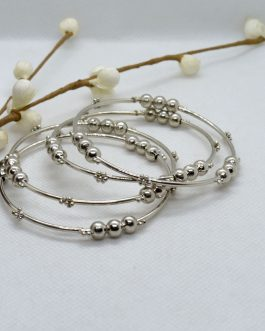 Silver Balls Beaded Metallic Bangles For Women- 4 Pcs