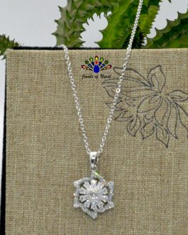 Flower Designed Cz Stones Studded Silver Toned Pendant Chain