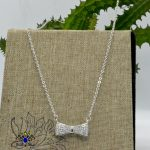 Cz Stones Studded Bow Silver Toned Pendant Chain