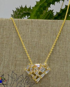 Heart Shaped Cz Stones Studded Gold Toned Pendant Chain