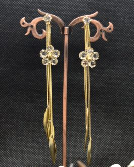 Golden Floral Stoned Fall Earr...
