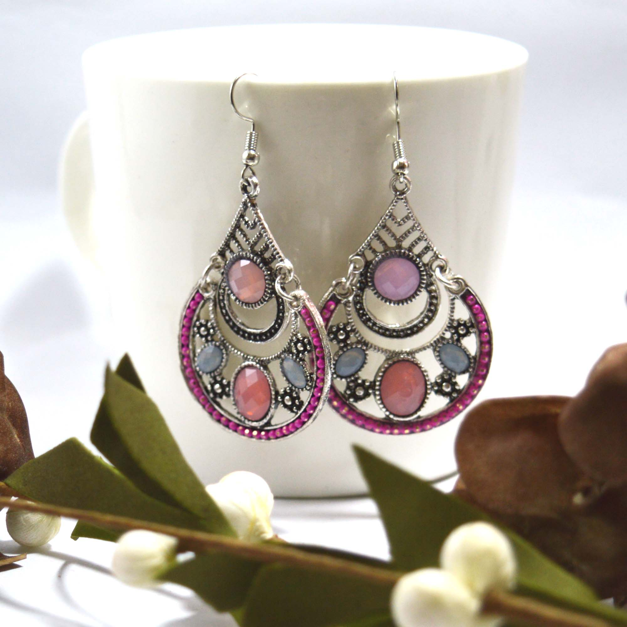 Multicolor Stones Studded Vint...