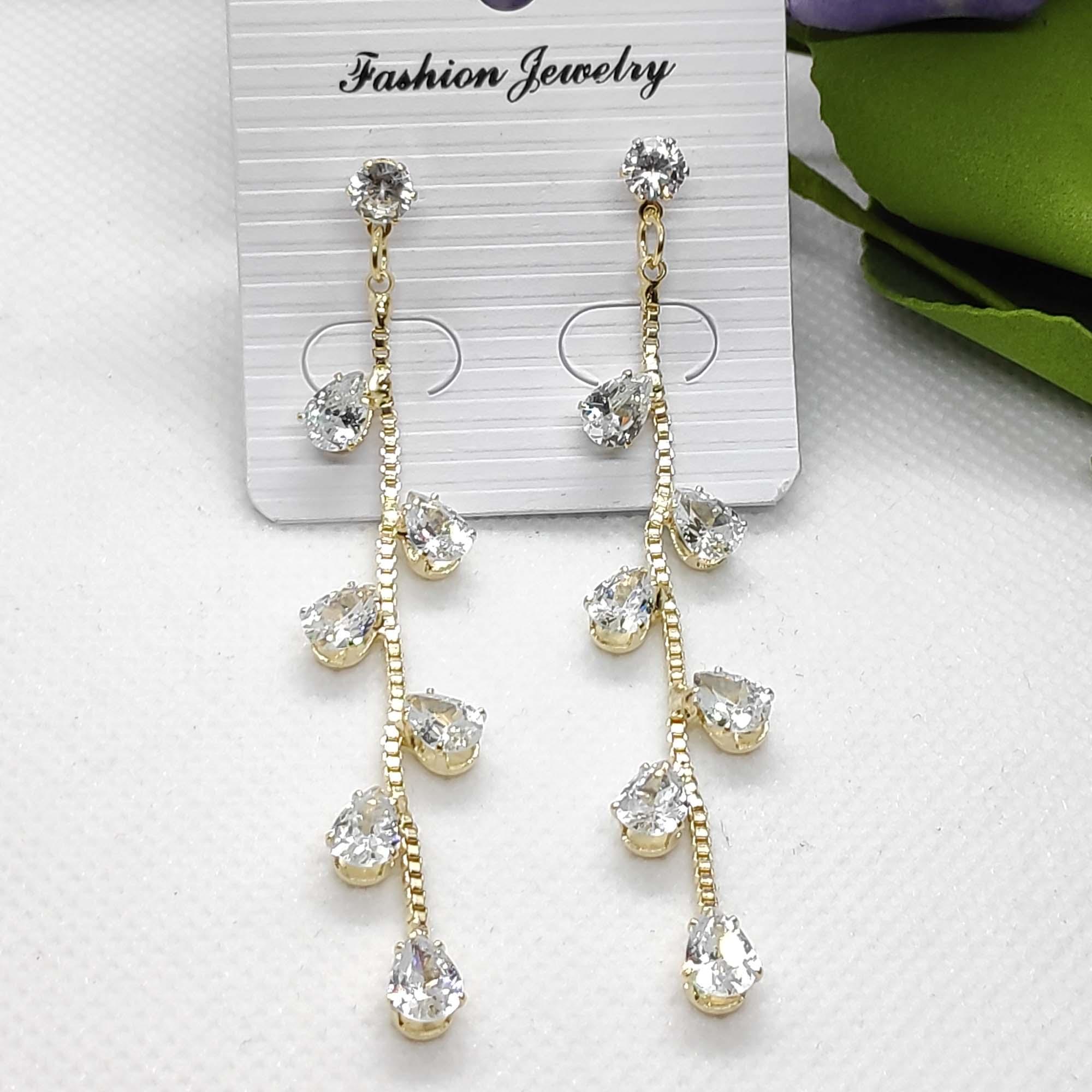 Leaf Style Stone Drop Earrings...