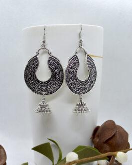 Antique Silver Toned Chandbali...
