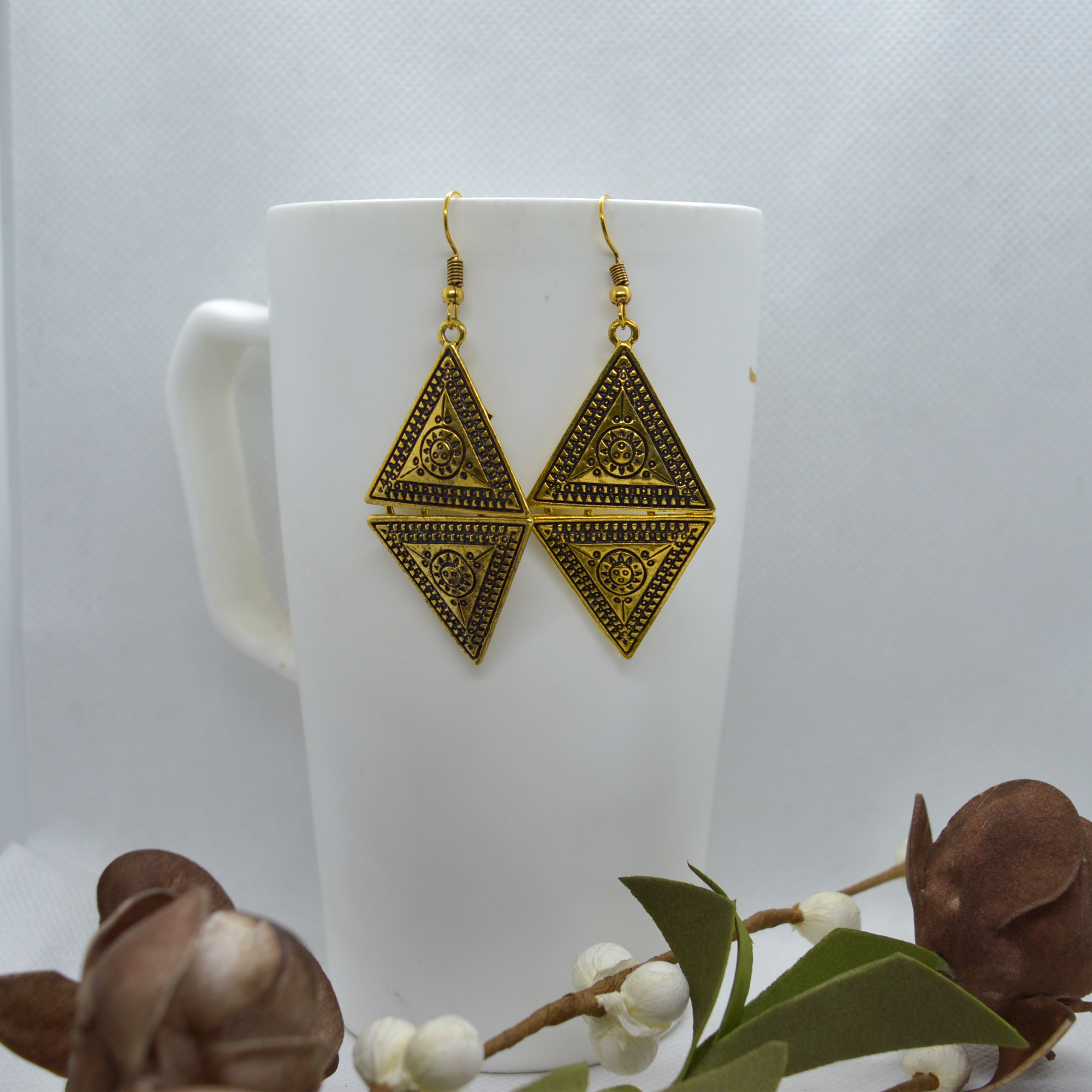 Golden Tribal Patterned Double...