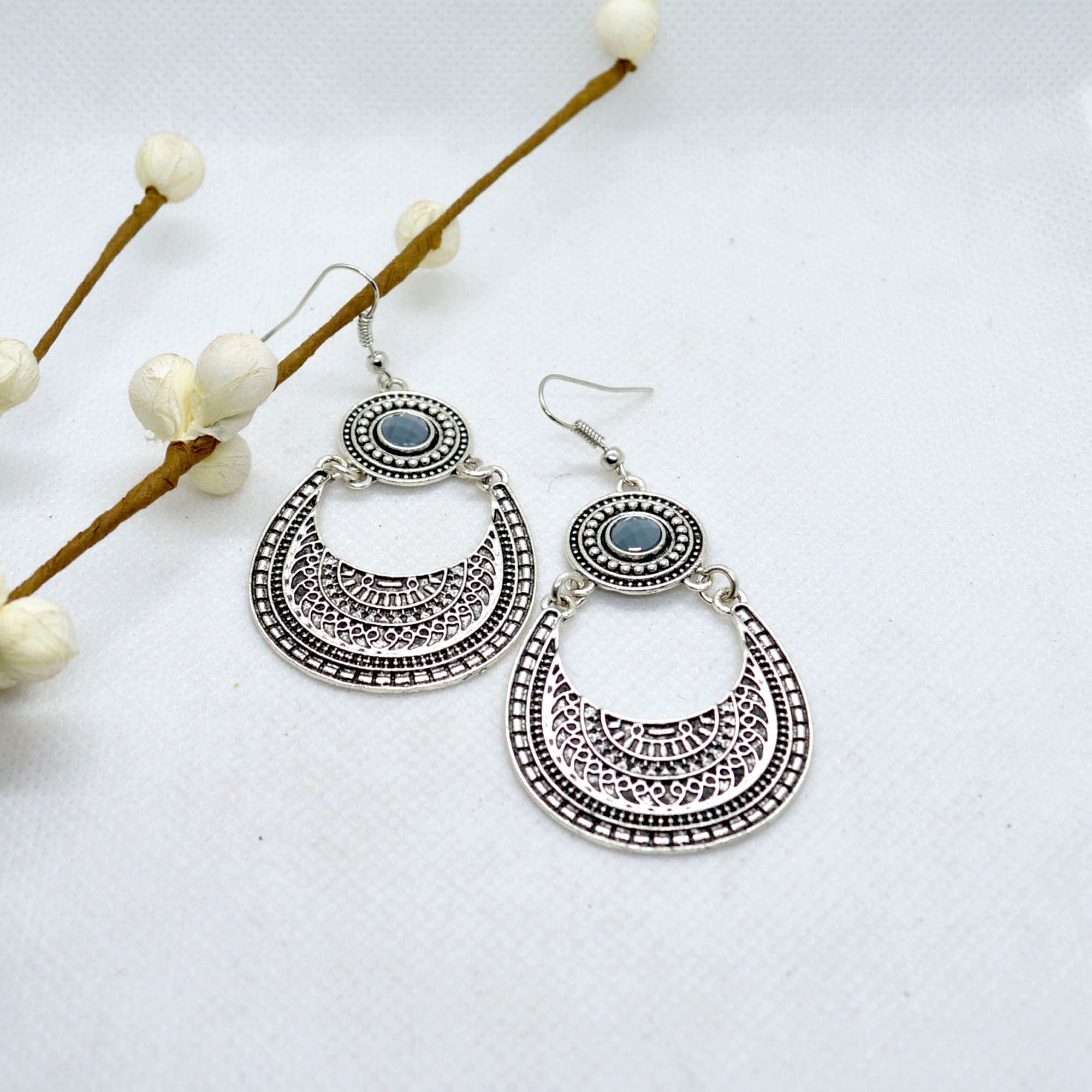 Silver/Golden Chandbali Drop D...