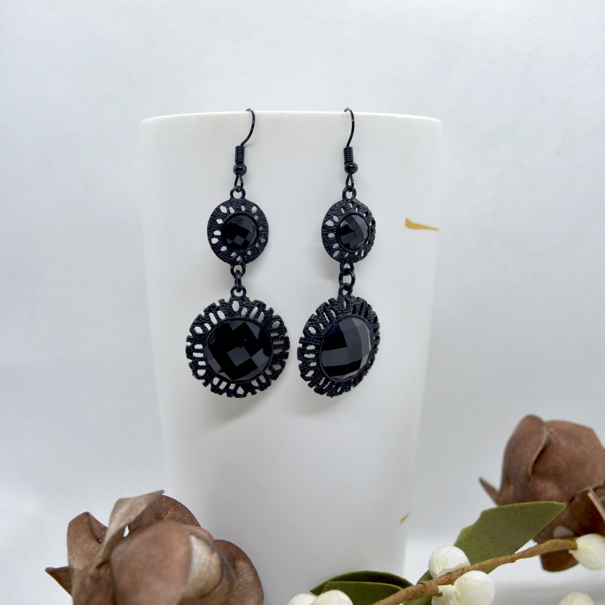 Black Studded Design Drop Earr...