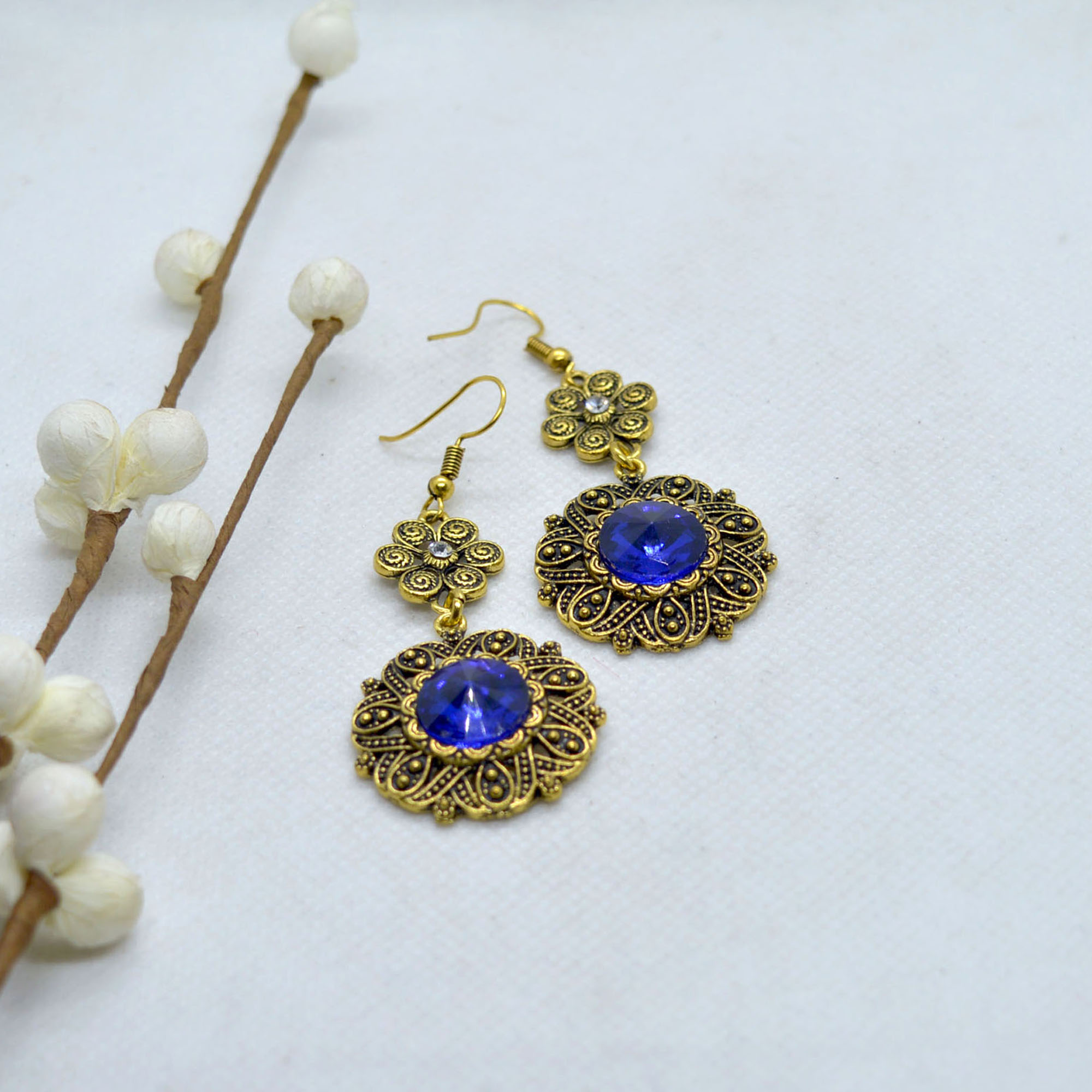 Floral Designed Round Drop Ear...