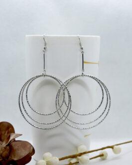 Silver Round Design Drop Earri...