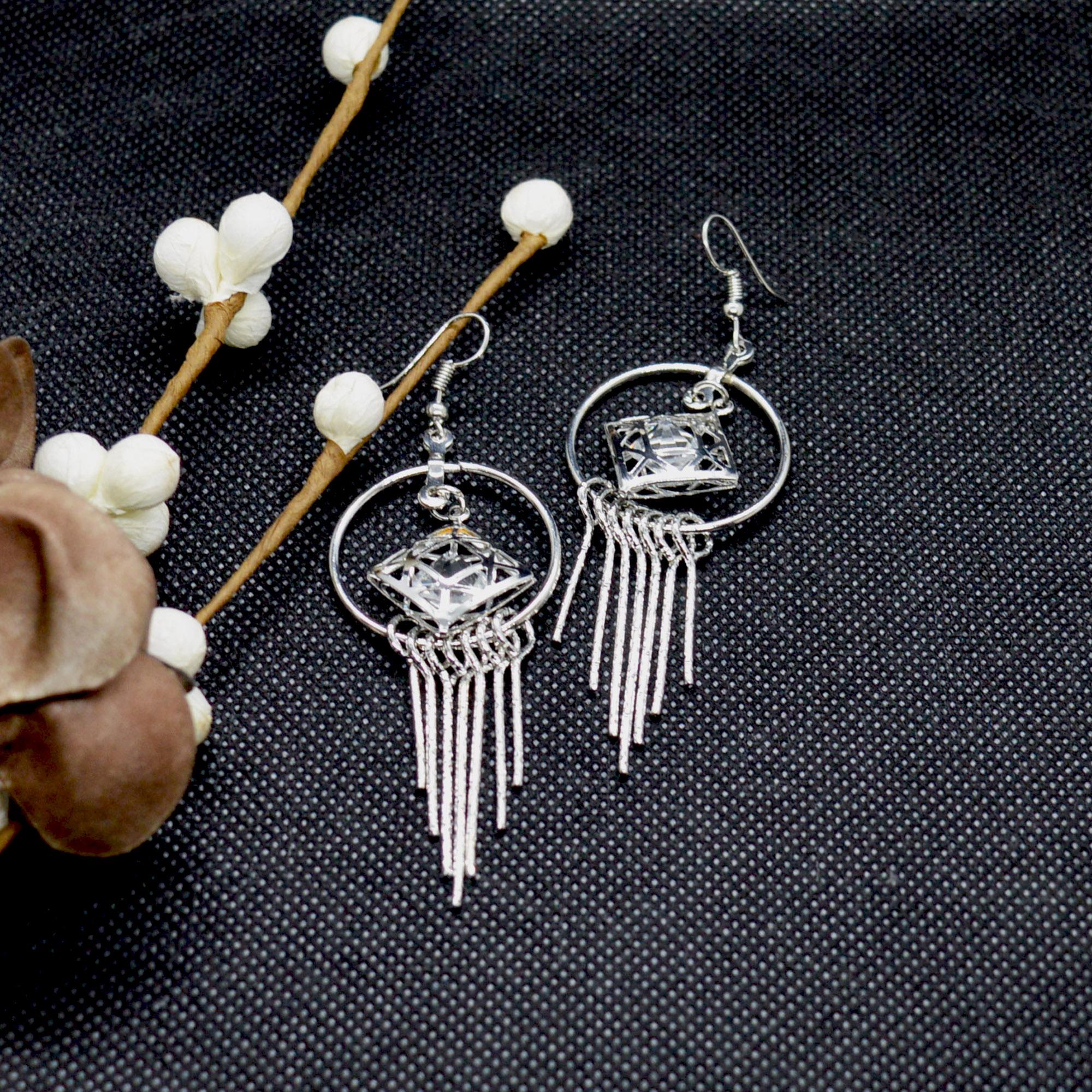 Silver Tassel Design Drop Earr...