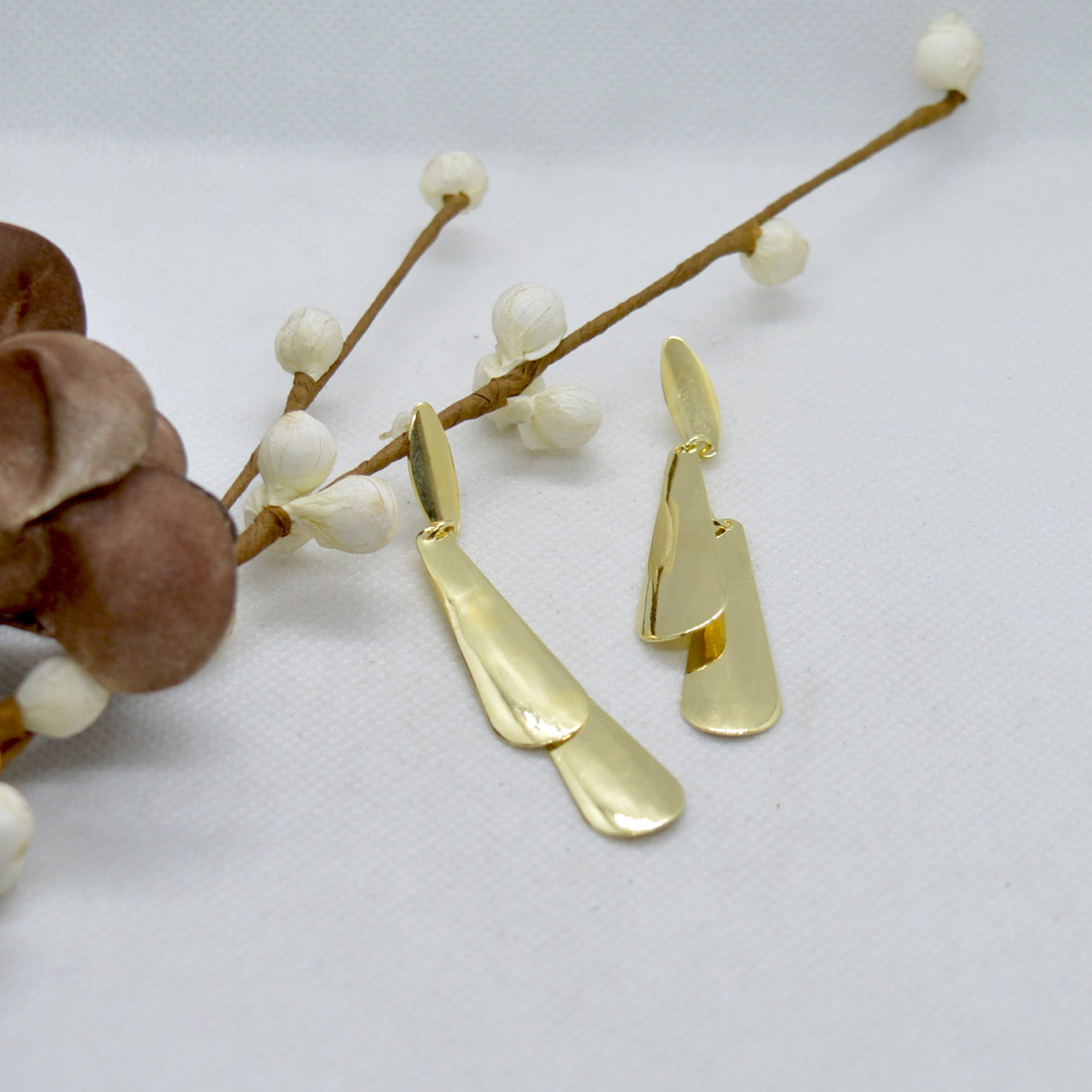 Golden Long Drop Earrings For ...