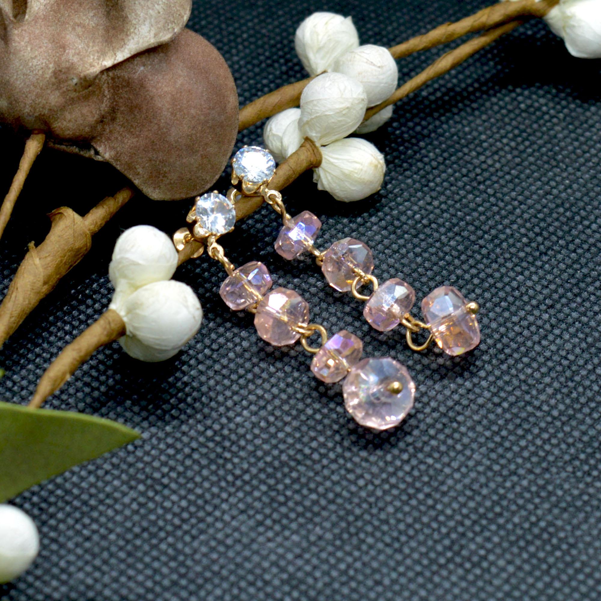 Pink Faux Crystal Beaded Earri...