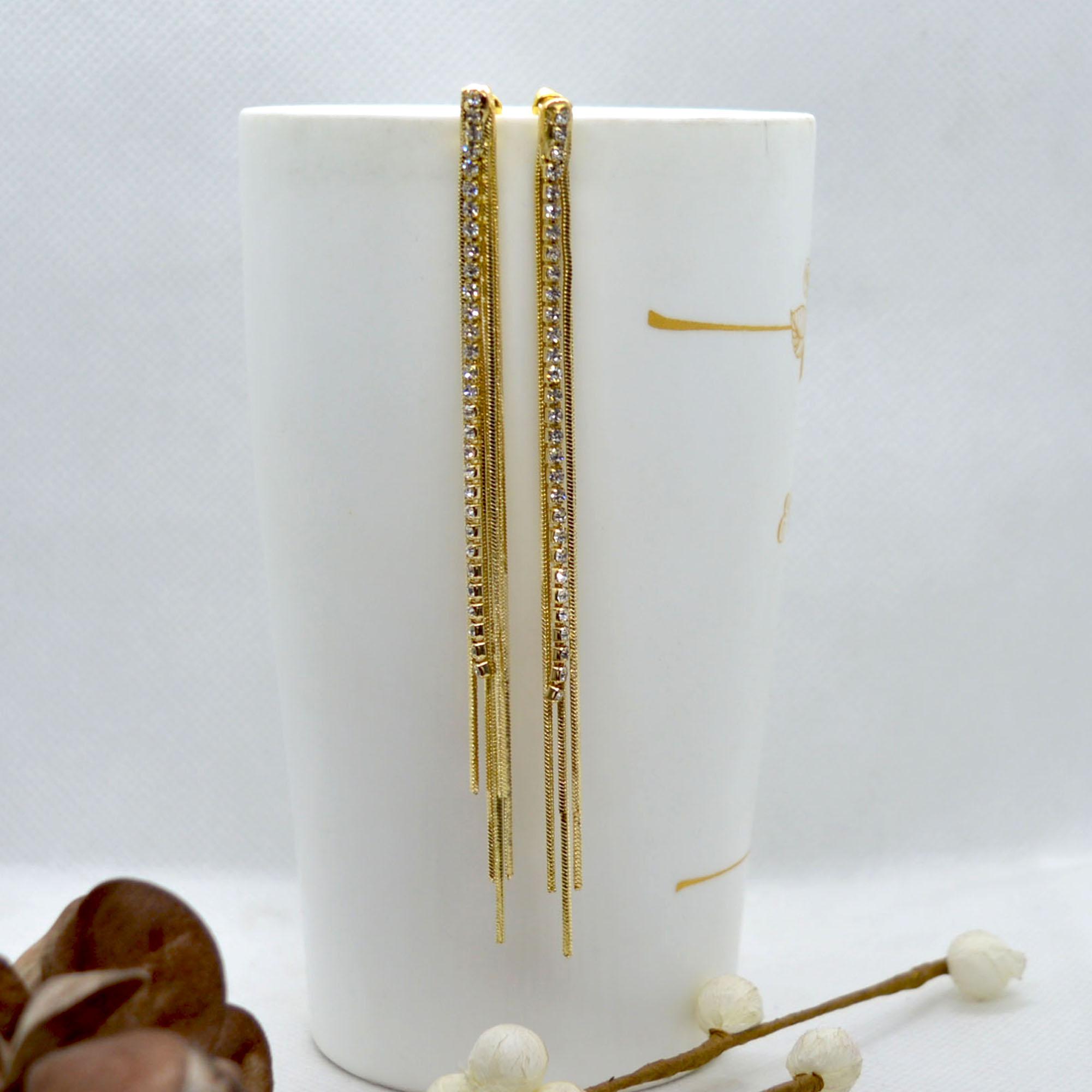 Golden Stone Chain Tassel Earr...