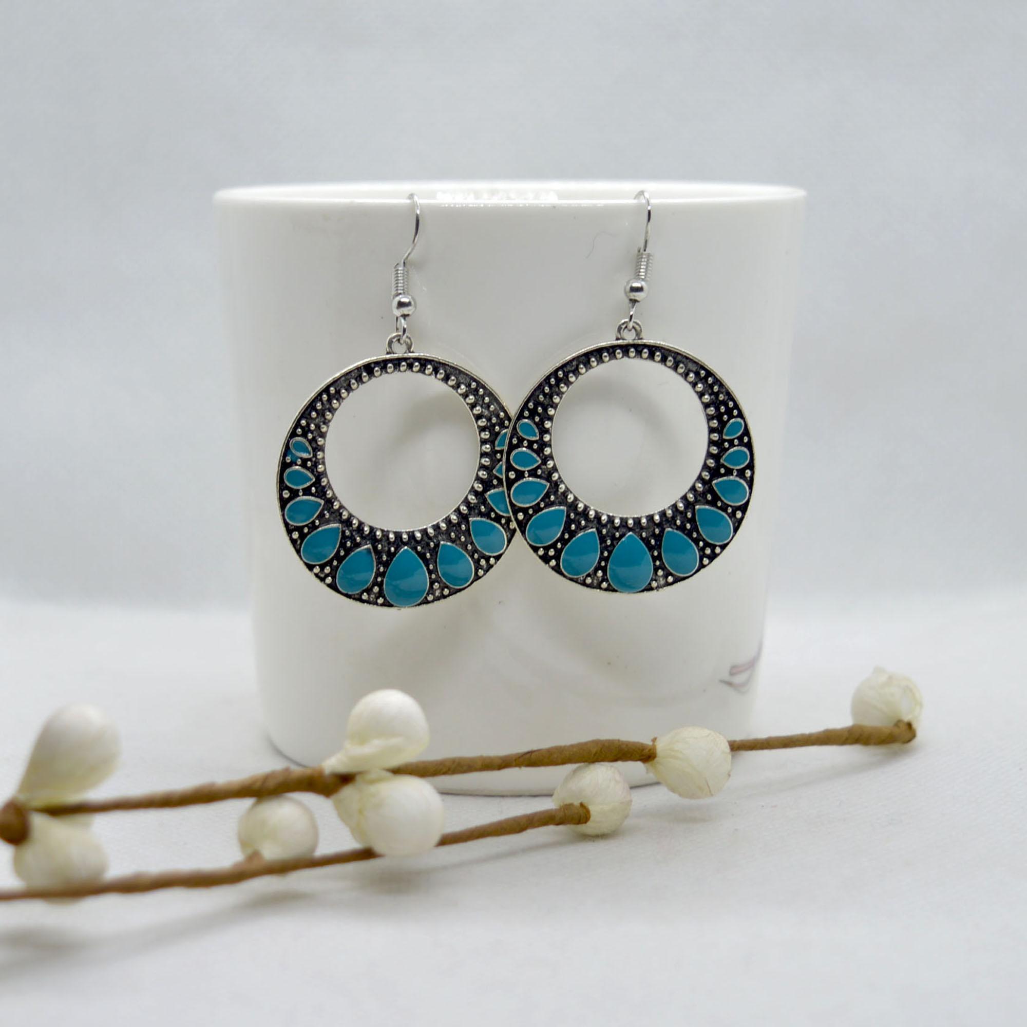 Turquoise/Silver Circular Dang...