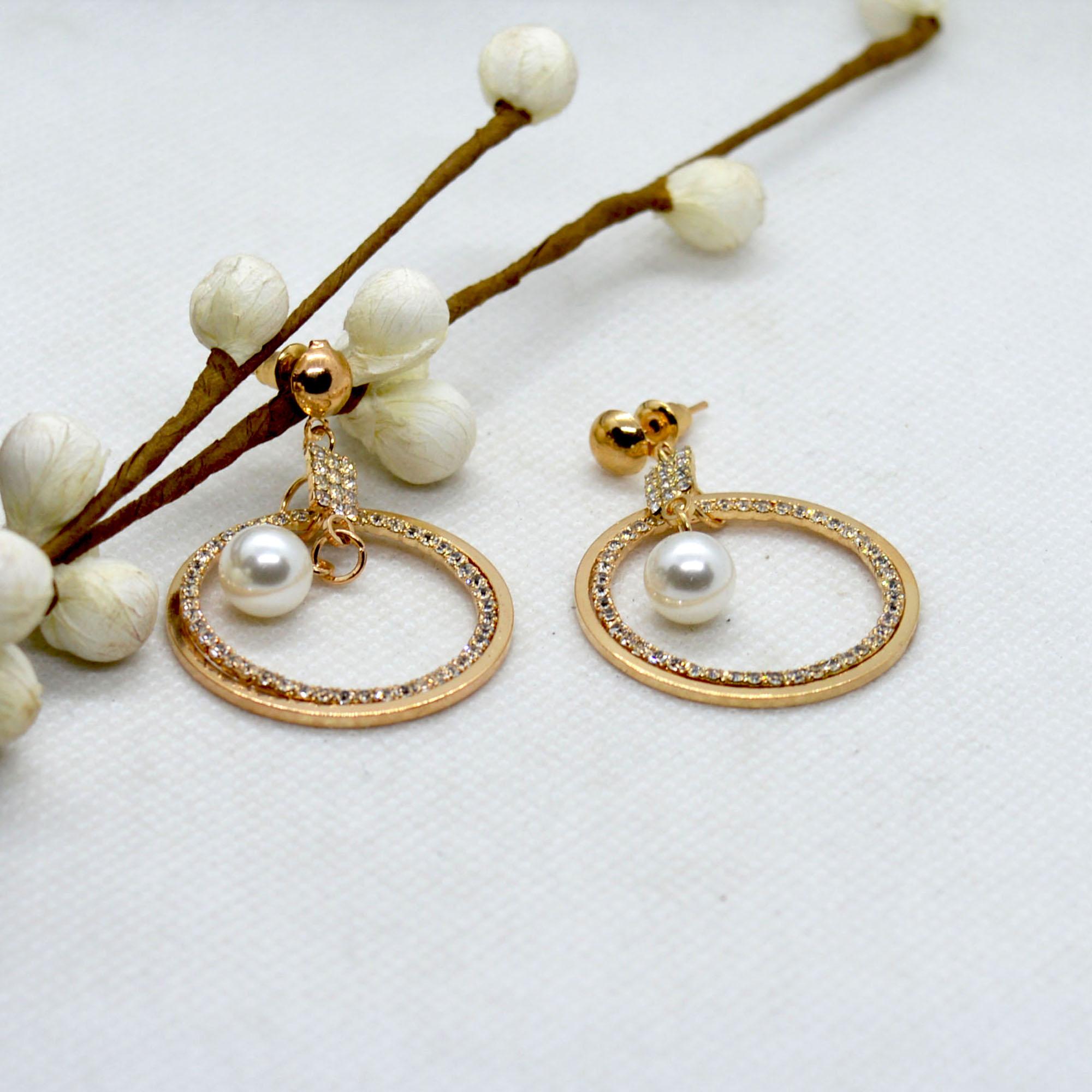 Golden Round Stoned Earrings F...