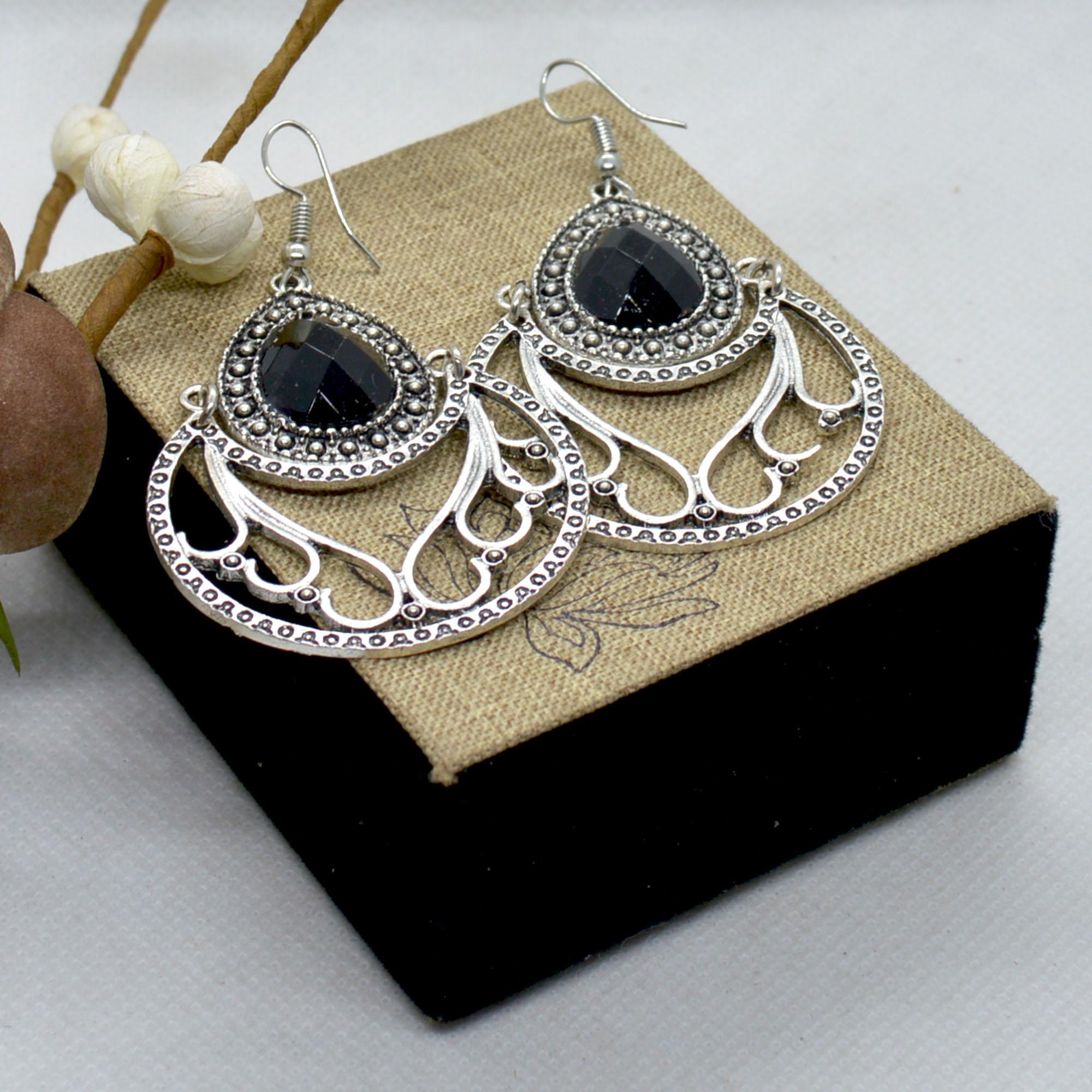 Silver/Black Stoned Heart Shap...