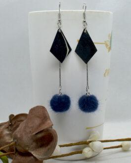 Long Pom Drop Earrings For Wom...