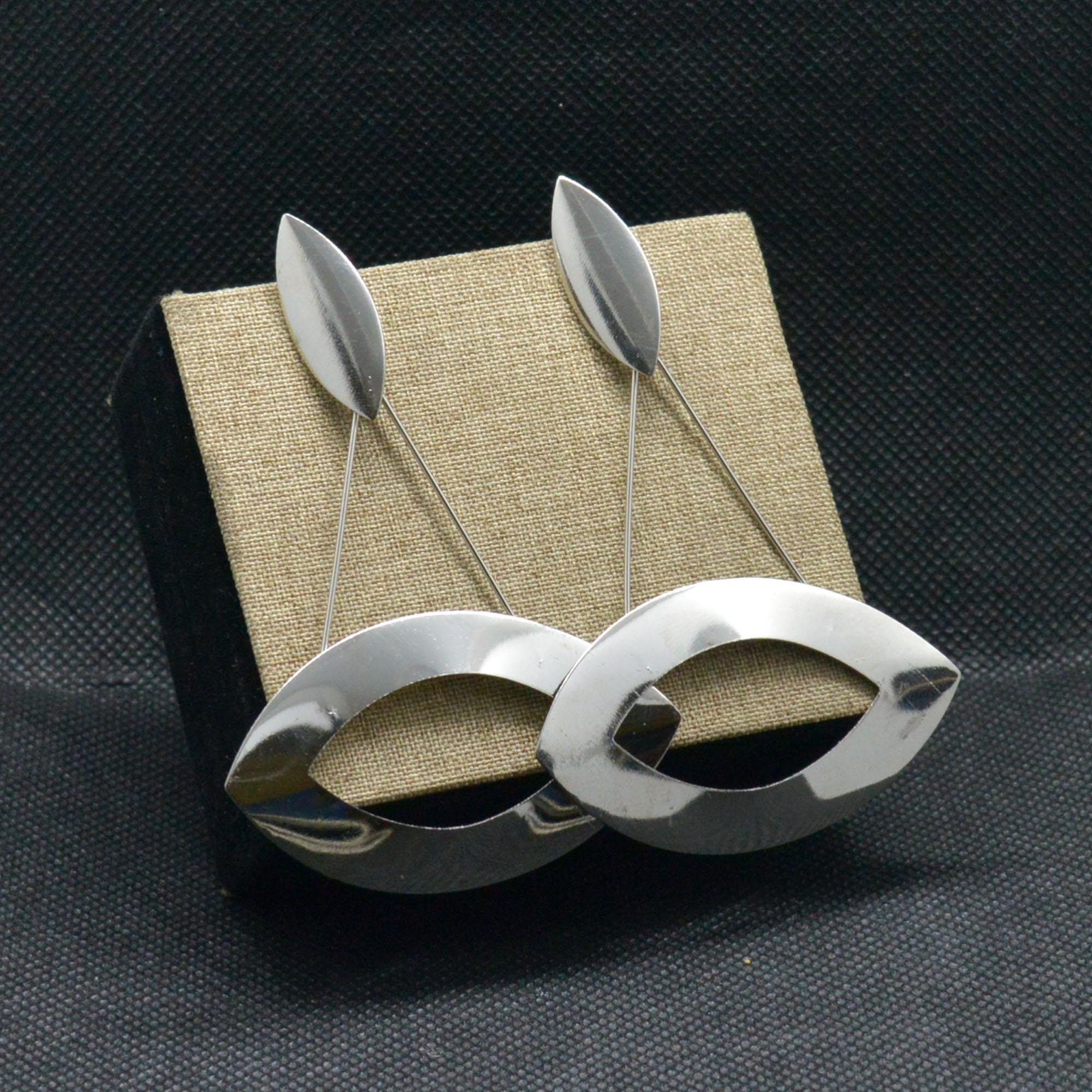 Silver Long Metallic Light Ear...