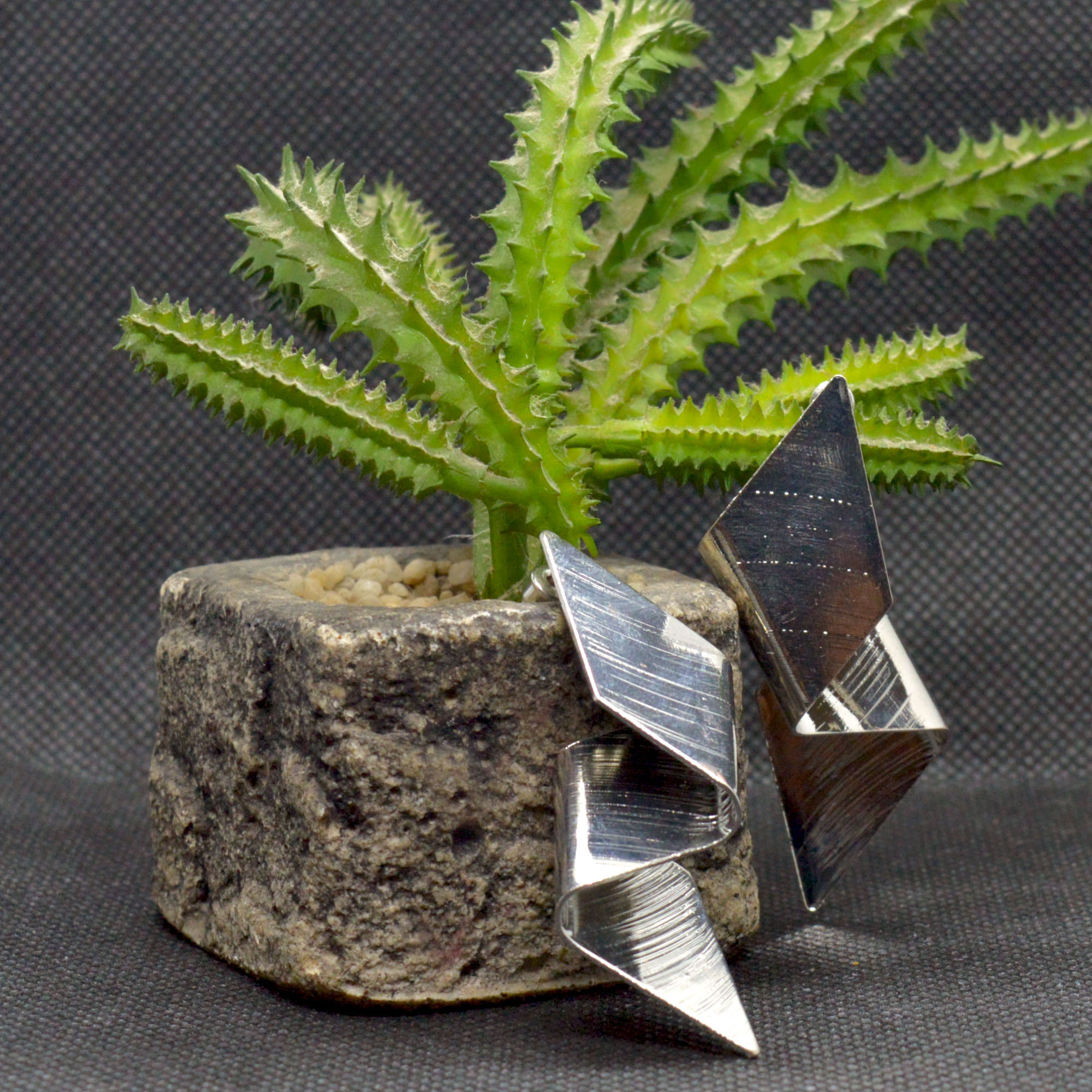 Silver Abstract Shaped Metalli...