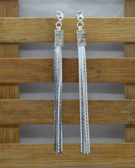 Silver Stone Studded Chain Tas...