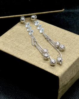 Silver Cz Stone Beaded Ball Ch...