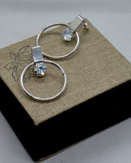 Silver Stone Adorned Round Dro...