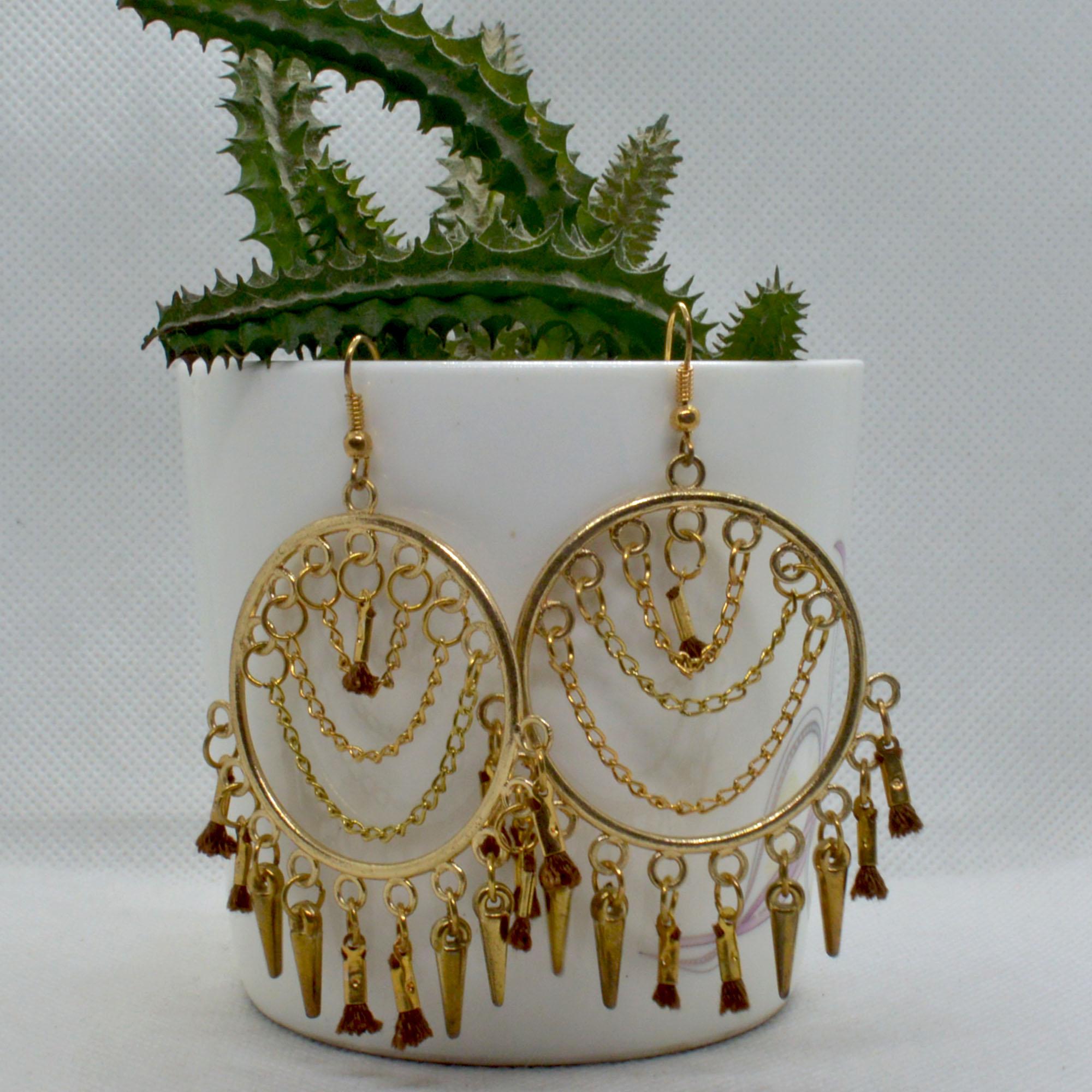 Golden/Brown Round Tassel Earr...