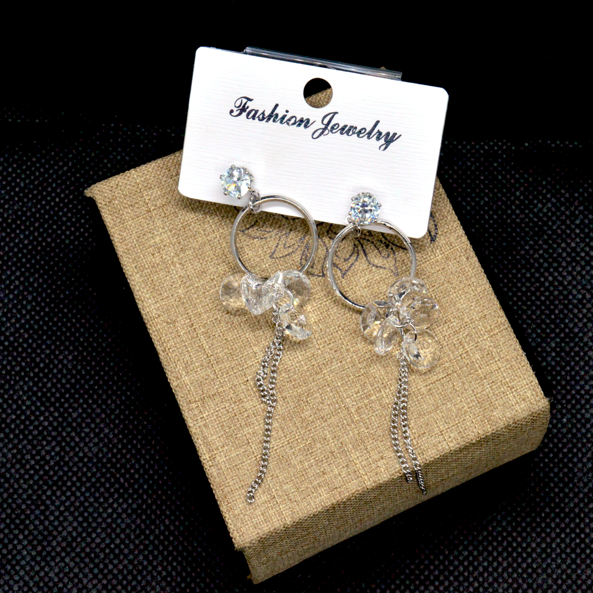 Silver Faux Crystal Clustered ...