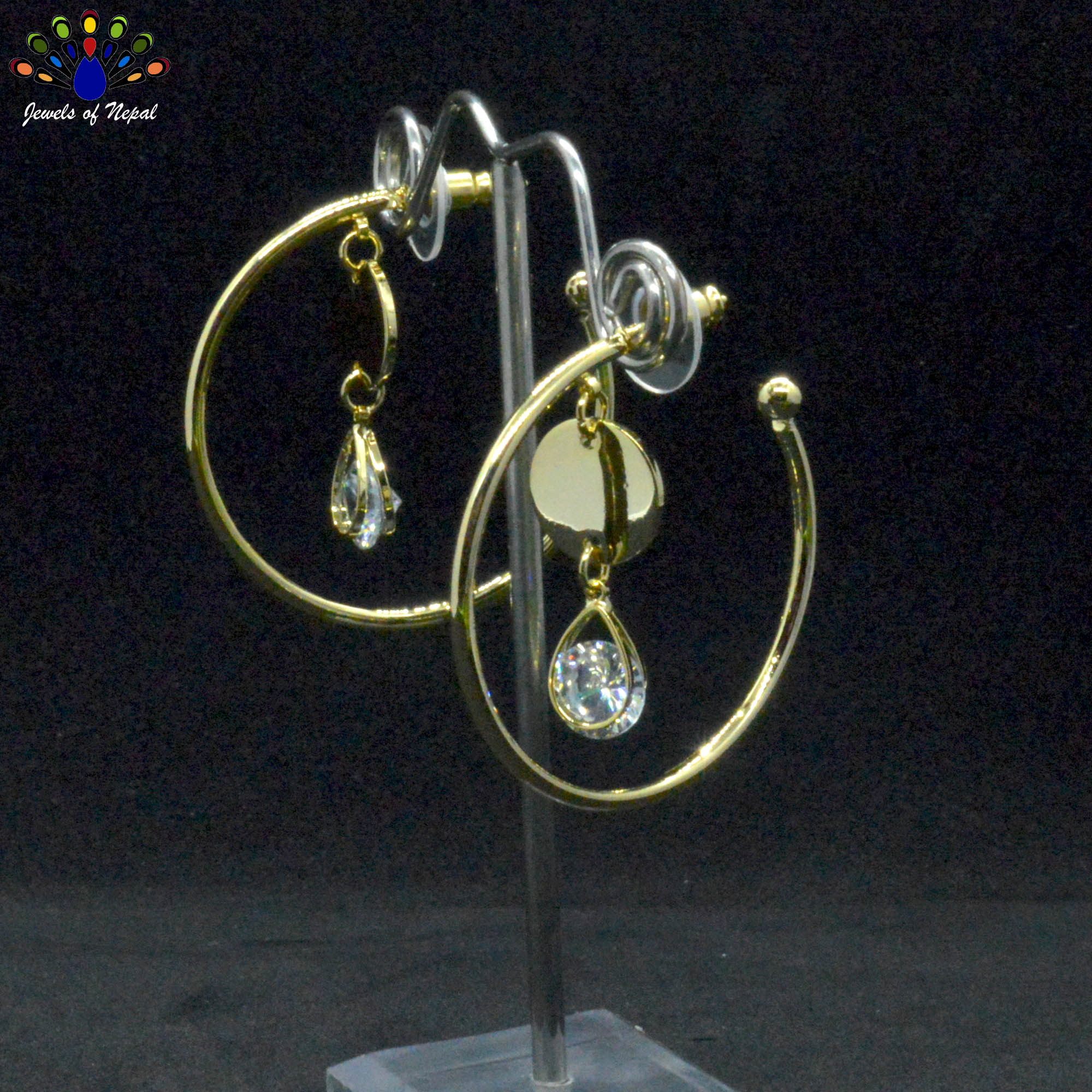 Gold Toned Stone Drop Circular...