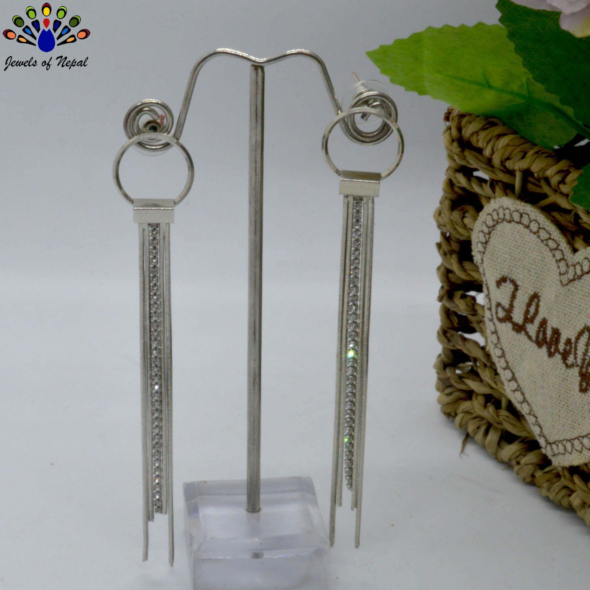 Silver Stone Chain Tassel Desi...